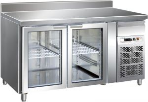 G-GN2200TNG - Ventilated stainless steel table with upstand Temp. -2 / + 8 ° C 3 Glass doors