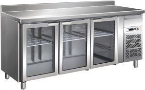 G-GN3200TNG - Inox Refrigerated Counter Table with Upstand Temp. + 2 / + 8 ° C 3 Glass Doors
