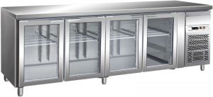 G-GN4100TNG - Ventilated Refrigerated Table GN1 / 1 Temp + 2 / + 8 ° C Glass Door