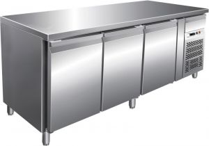 G-PA3100TN Refrigerated counter table - 3 doors stainless steel frame