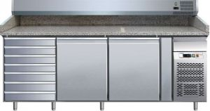 G-PZ2610TN- Refrigerated table and ventilated pizza counter in AISI304 steel with 2 doors