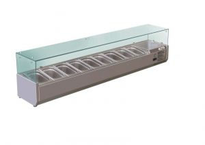 G-RI18033V - Refrigerated Superstructure for Pizzeria with Glasses - 180 cm - Forcar