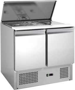 G-S900-FC Saladette inox AISI201 a refrigerazione statica, 2 porte