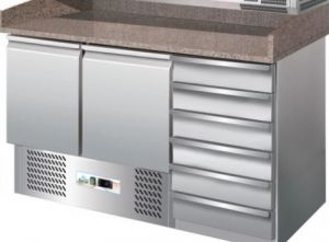 G-S903PZCAS - Static pizza cooler counter with drawer for pizza dough