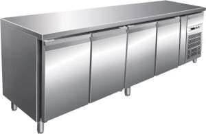 G-SNACK4100TN - Ventilated stainless steel refrigerated table - 4 doors