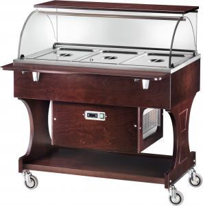 CLR2787NBTW Carrello legno refrigerato (-5°+5°C) 3x1/1GN cupola pianetto Wengé