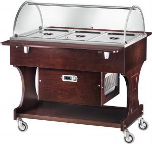 CLR2788BTW Wengé wooden refrigerated trolley (-5°+5°C) 3x1/1GN plx cover