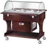 CLR2788NW Carrello in legno refrigerato (+2°+10°C) 3x1/1GN cupola plx Wengé
