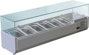 VRX1400-330-FC Vetrina refrigerata inox aisi 201 per bacinelle