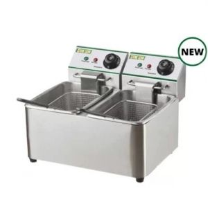 FY4L2 Countertop Deep Fryer 2 Tubs 4 + 4 Lt Stainless Steel 2 + 2 KW - Easyline