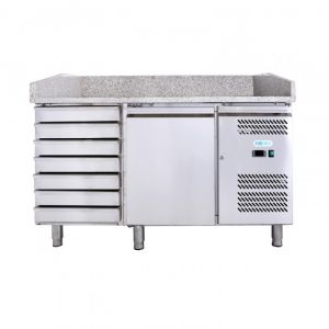 G-PZ1610TN-FC Comptoir à Pizza Ventilé 1 Porte + Tiroir - Capacité Lt 390