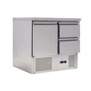 G-S901-2D-FC Saladette statique pour salades GN1 / 1 - 1 porte 2 tiroirs - capacité 230 Lt