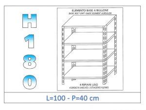 IN-1846910040B Scaffale a 4 ripiani lisci fissaggio a bullone dim cm 100x40x180h
