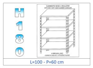 IN-1846910060B Scaffale a 4 ripiani lisci fissaggio a bullone dim cm 100x60x180h