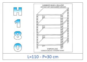 IN-1846911030B Shelf with 4 smooth shelves bolt fixing dim cm 110x30x180h