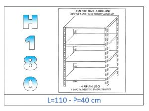 IN-1846911040B Shelf with 4 smooth shelves bolt fixing dim cm 110x40x180h