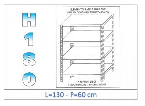 IN-1846913060B Shelf with 4 smooth shelves bolt fixing dim cm 130x60x180h