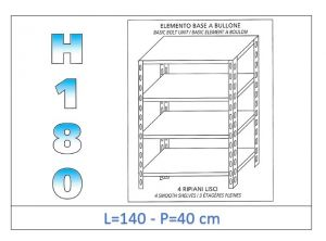 IN-1846914040B Shelf with 4 smooth shelves bolt fixing dim cm 140x40x180h