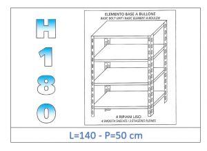 IN-1846914050B Scaffale a 4 ripiani lisci fissaggio a bullone dim cm 140x50x180h
