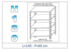 IN-1846914060B Shelf with 4 smooth shelves bolt fixing dim cm 140x60x180h