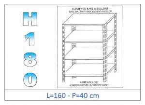 IN-1846916040B Shelf with 4 smooth shelves bolt fixing dim cm 160x40x180h