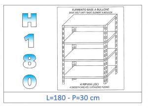 IN-1846918030B Shelf with 4 smooth shelves bolt fixing dim cm 180 x30x180h