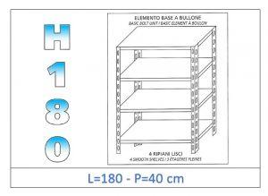 IN-1846918040B Scaffale a 4 ripiani lisci fissaggio a bullone dim cm 180x40x180h