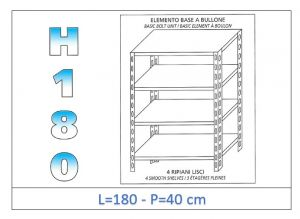 IN-1846918040B Shelf with 4 smooth shelves bolt fixing dim cm 180x40x180h