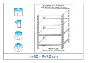 IN-184696030B Shelf with 4 smooth shelves bolt fixing dim cm 60x30x180h