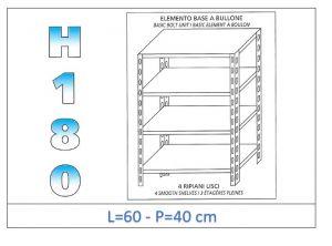 IN-184696040B Scaffale a 4 ripiani lisci fissaggio a bullone dim cm 60x40x180h