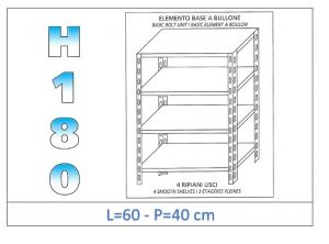 IN-184696040B Shelf with 4 smooth shelves bolt fixing dim cm 60x40x180h