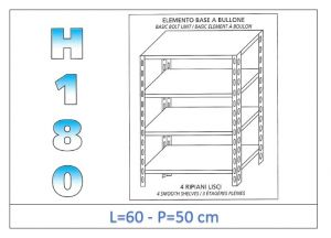 IN-184696050B Shelf with 4 smooth shelves bolt fixing dim cm 60x50x180h