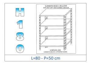 IN-184698050B Shelf with 4 smooth shelves bolt fixing dim cm 80x50x180h