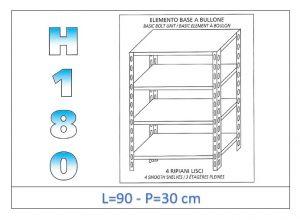IN-184699030B Scaffale a 4 ripiani lisci fissaggio a bullone dim cm 90x30x180h
