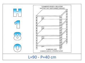 IN-184699040B Shelf with 4 smooth shelves bolt fixing dim cm 90x40x180h