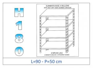 IN-184699050B Shelf with 4 smooth shelves bolt fixing dim cm 90x50x180h