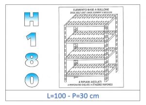 IN-1847010030B Shelf with 4 slotted shelves bolt fixing dim cm 100x30x180h