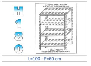 IN-1847010060B Shelf with 4 slotted shelves bolt fixing dim cm 100x60x180h