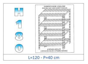 IN-1847012040B Scaffale a 4 ripiani asolati fissaggio a bullone dim cm 120x40x180h