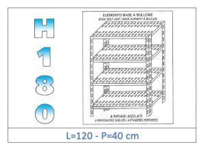 IN-1847012040B Shelf with 4 slotted shelves bolt fixing dim cm 120x40x180h