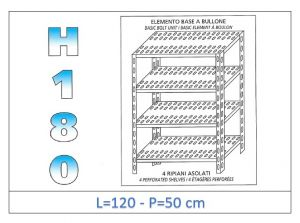 IN-1847012050B Shelf with 4 slotted shelves bolt fixing dim cm 120x50x180h