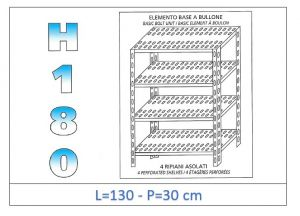 IN-1847013030B Shelf with 4 slotted shelves bolt fixing dim cm 130x30x180h