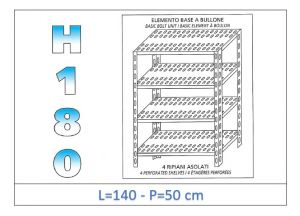 IN-1847014050B Shelf with 4 slotted shelves bolt fixing dim cm 140x50x180h