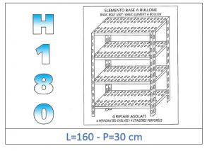 IN-1847016030B Shelf with 4 slotted shelves bolt fixing dim cm 160x30x180h