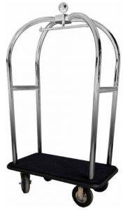 PV2021I Chariot porte-valises avec porte-manteaux en acier inox Roues pneumatiques