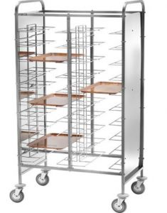CA1475PI  Stainless steel universal tray-holder trolley 30 trays Side panels