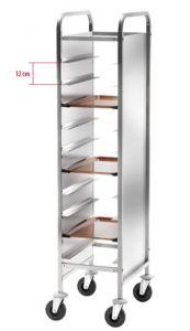 CA1451RPI Carrello inox portavassoi rinforzato pannelli inox 10 vassoi