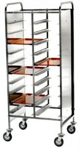CA1471RPI Stainless steel Reinforced tray-holder trolley 30 trays side panels