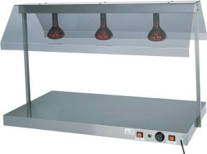 PCI4712  Stainless steel warming surface with 2 infrared lamps 85x64x80h