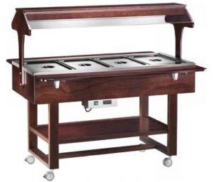 ELC2828W Wooden Hot display case bain marie (+30°+90°C) 4x1/1GN Wengé